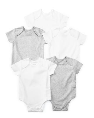 Grey Cotton Short Sleeve Bodysuits 5 Pack