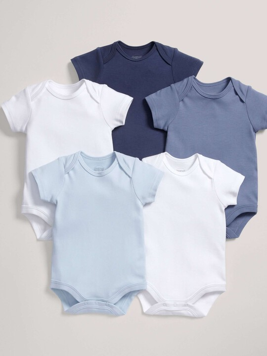 Short Sleeved Blue Bodysuits (5 Pack) image number 1