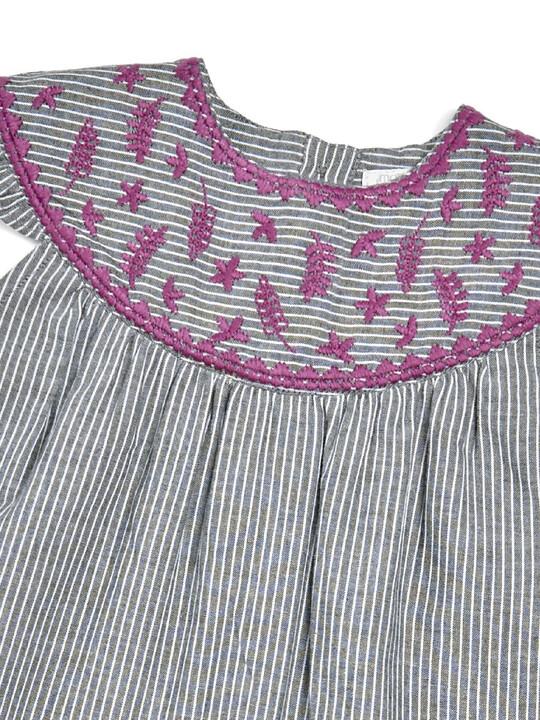فستان مخطط مطرز image number 3