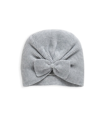 Grey Knitted Bow Turban Hat