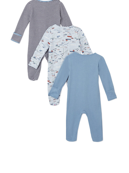 3Pack of  NAUTICAL Sleepsuits image number 2