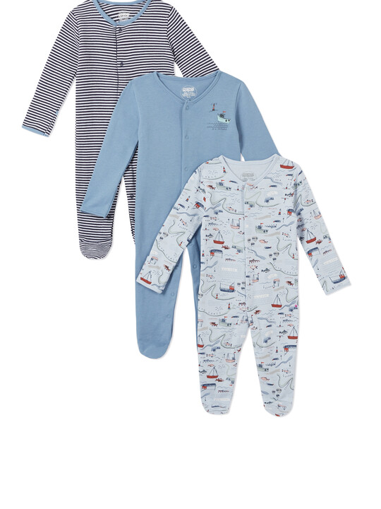 3Pack of  NAUTICAL Sleepsuits image number 1