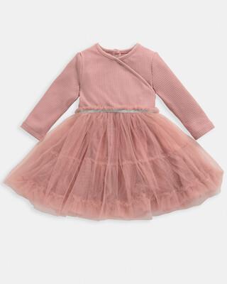 فستان بتصميم ملفوف - وردي
