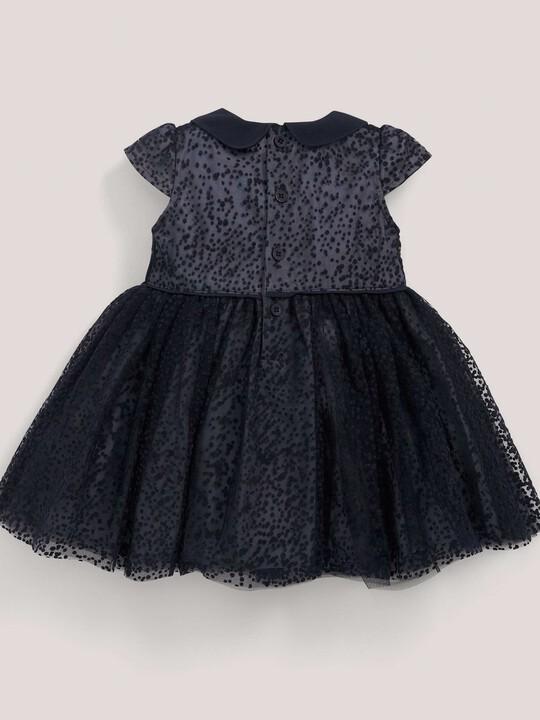 فستان مناسبات المنقط باللون الأزرق البحري: image number 2