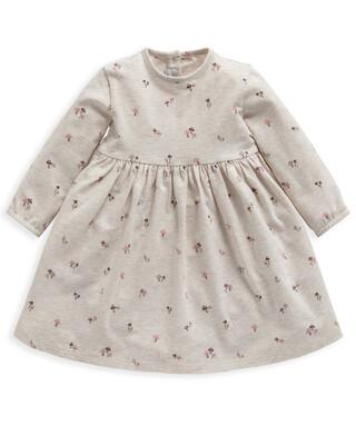 Mushroom Print Long Sleeve Jersey Dress