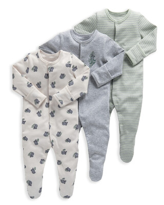 Koala Jersey Cotton Sleepsuits 3 Pack