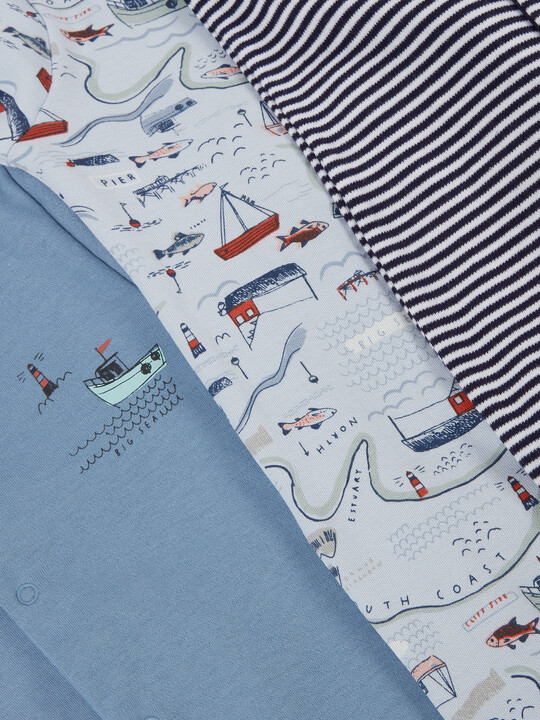 3Pack of  NAUTICAL Sleepsuits image number 3