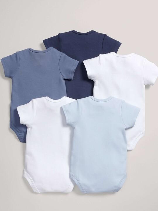 Short Sleeved Blue Bodysuits (5 Pack) image number 2