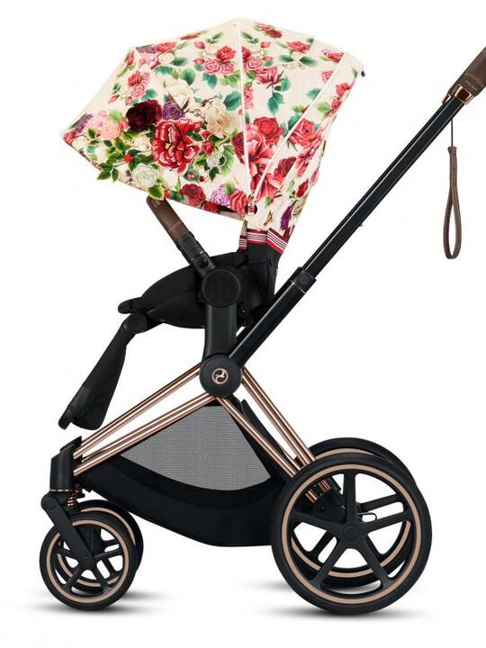 مقعد عربة أطفال بريام بنقشة زهور - بيج فاتح image number 3